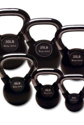 Body Solid Chrome Handle Rubber Kettle Bell Set Singles 5 50 Pounds