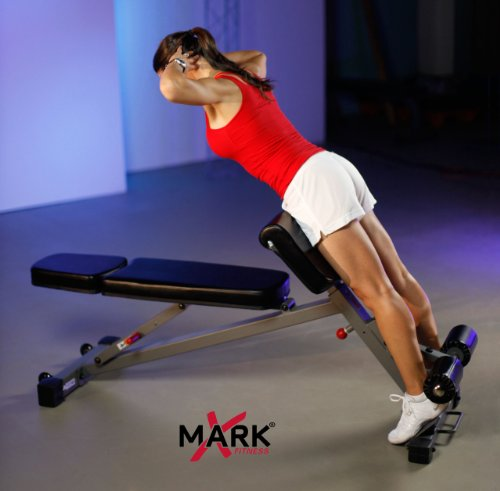 Dumbbell Exercises Without A Bench: XMark Commercial Flat, Decline, Ab, Hyperextension And
