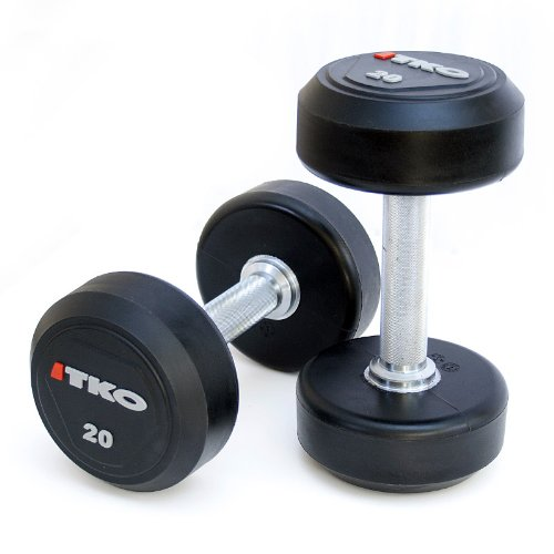 TKO Solid Steel Urethane Encased Dumbbell Set 5-50 lb ...