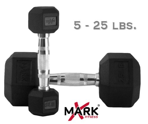 Dumbbell Set Big 5: XMark Fitness Rubber Hex Dumbbell Set (5 -25-Pounds